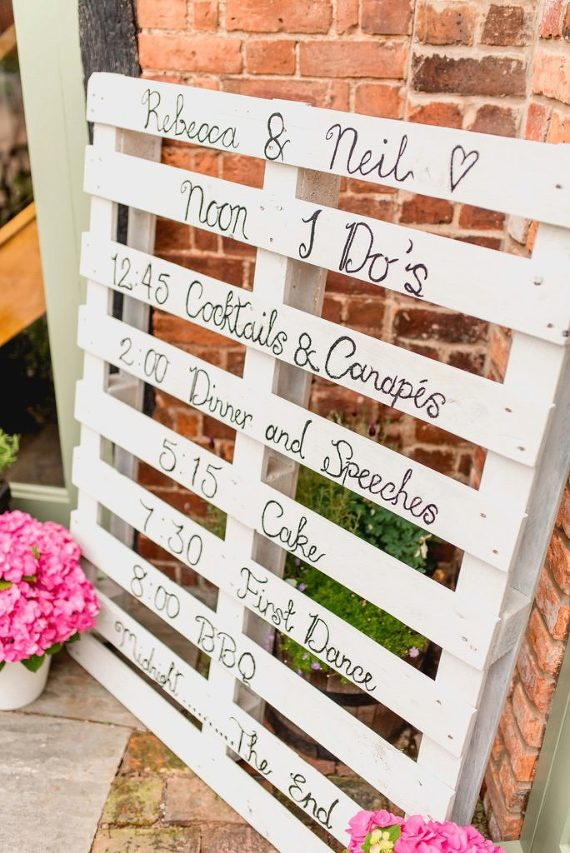 Wedding Schedule on timber Pallet 5 ideas for Handmade Wedding Signs